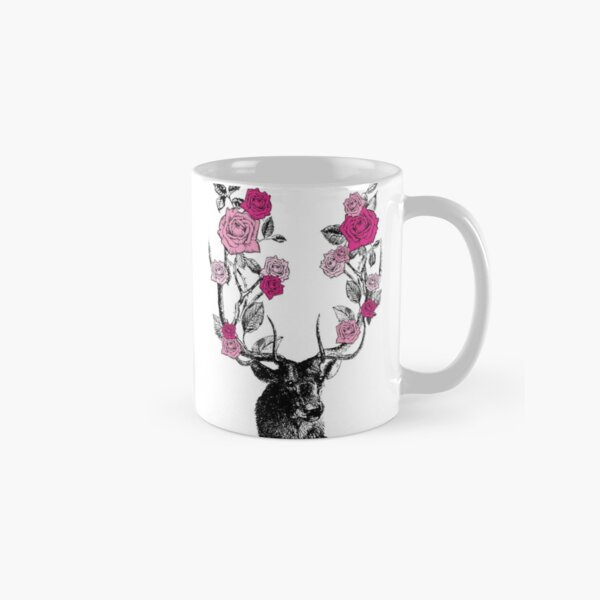 The Stag and Roses   Deer and Roses   Stag and Flowers   Deer and Flowers   Vintage Stag   Antlers   Woodland   Highland   Pink    Classic Mug