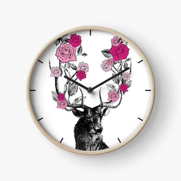 The Stag and Roses | Deer and Roses | Stag and Flowers | Deer and Flowers | Vintage Stag | Antlers | Woodland | Highland | Pink |  Clock