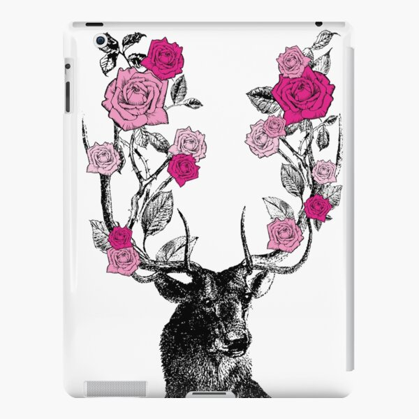 The Stag and Roses | Deer and Roses | Stag and Flowers | Deer and Flowers | Vintage Stag | Antlers | Woodland | Highland | Pink |  iPad Snap Case