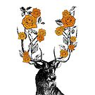 The Stag and Roses   Deer and Roses   Stag and Flowers   Deer and Flowers   Vintage Stag   Antlers   Woodland   Highland   Orange   by EclecticAtHeART