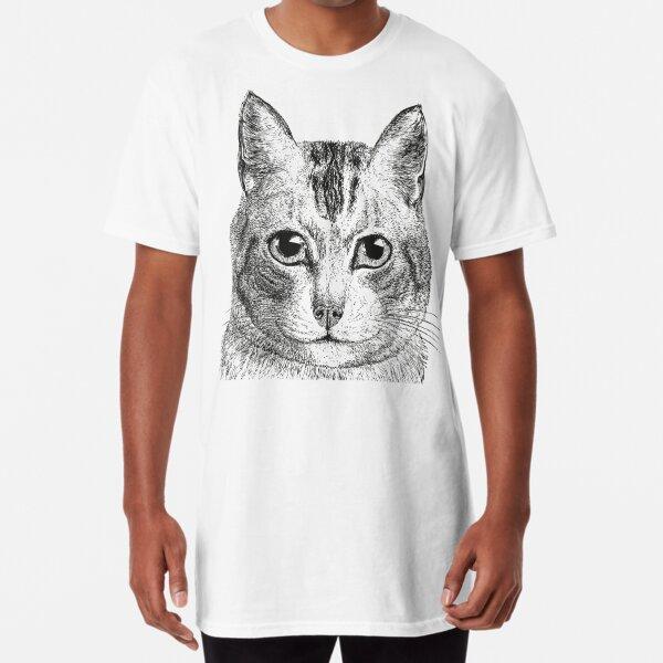 Cat | Black and White |  Long T-Shirt