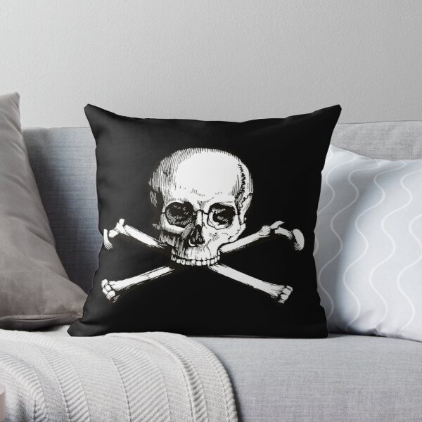 Skull and Crossbones | Jolly Roger | Pirate Flag | Deaths Head | Black and White | Skulls and Skeletons | Vintage Skulls | Throw Pillow