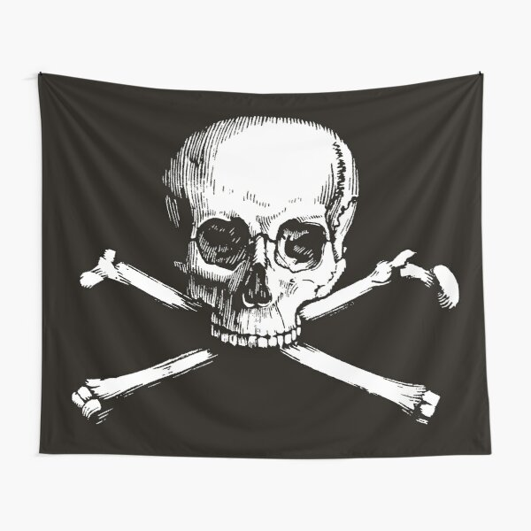 Skull and Crossbones | Jolly Roger | Pirate Flag | Deaths Head | Black and White | Skulls and Skeletons | Vintage Skulls | Tapestry