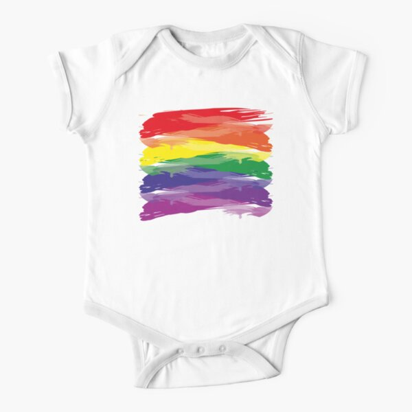 Abstract Rainbow | Rainbow Colors | Stripe Patterns | Striped Patterns | Short Sleeve Baby One-Piece
