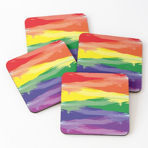Abstract Rainbow | Rainbow Colors | Stripe Patterns | Striped Patterns | Coasters (Set of 4)