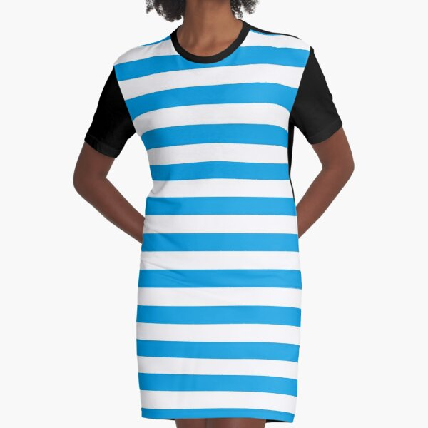 Turquoise Blue and White Stripes | Stripe Patterns | Striped Patterns | Graphic T-Shirt Dress