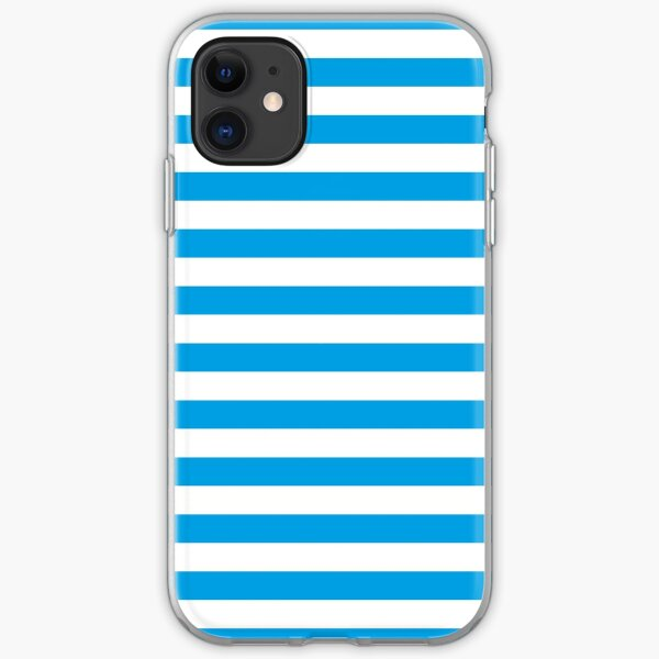 Turquoise Blue and White Stripes | Stripe Patterns | Striped Patterns | iPhone Soft Case