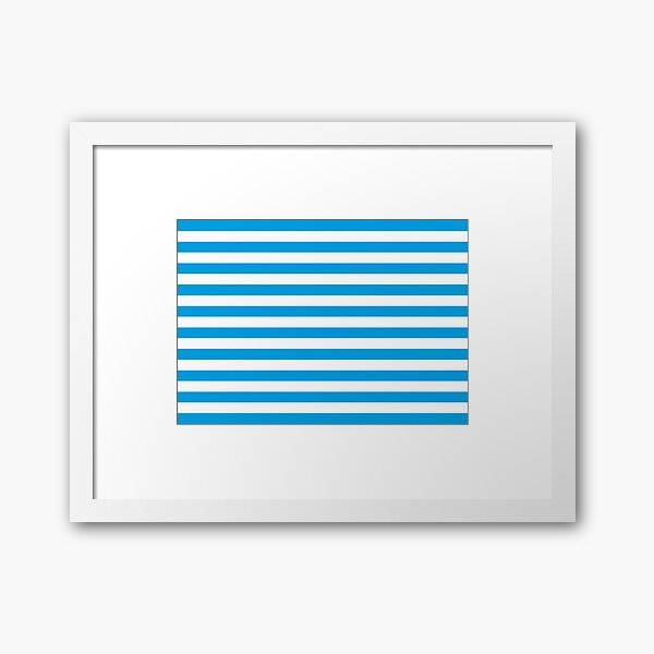 Turquoise Blue and White Stripes | Stripe Patterns | Striped Patterns | Framed Art Print