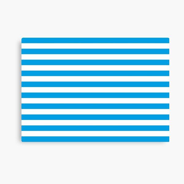 Turquoise Blue and White Stripes | Stripe Patterns | Striped Patterns | Canvas Print