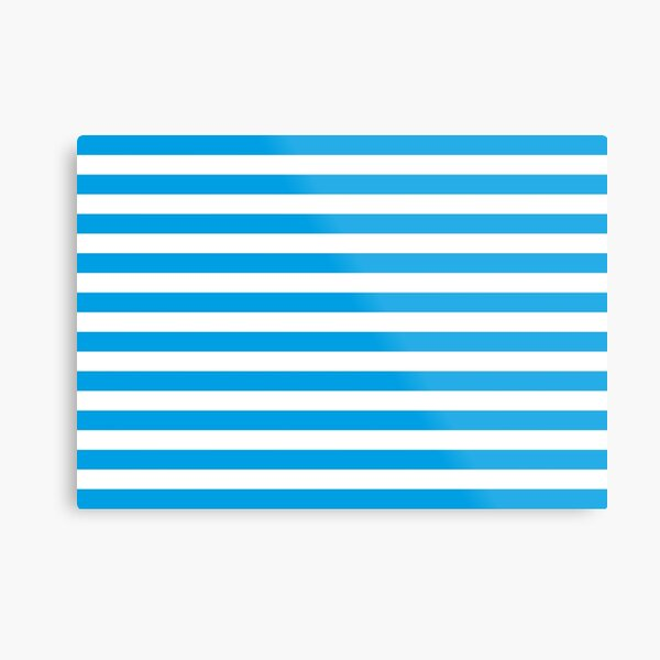Turquoise Blue and White Stripes | Stripe Patterns | Striped Patterns | Metal Print