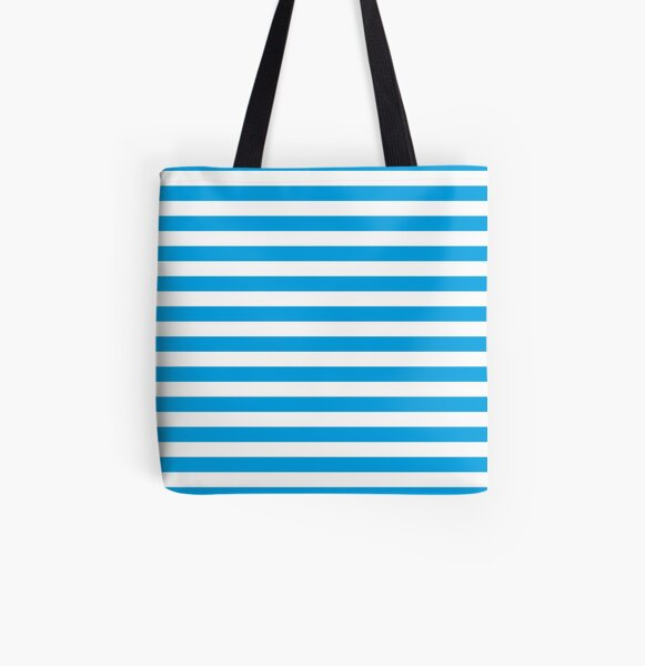 Turquoise Blue and White Stripes | Stripe Patterns | Striped Patterns | All Over Print Tote Bag