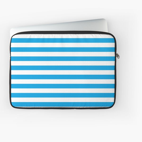 Turquoise Blue and White Stripes | Stripe Patterns | Striped Patterns | Laptop Sleeve