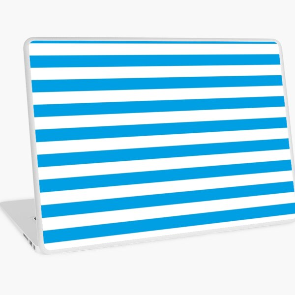Turquoise Blue and White Stripes | Stripe Patterns | Striped Patterns | Laptop Skin