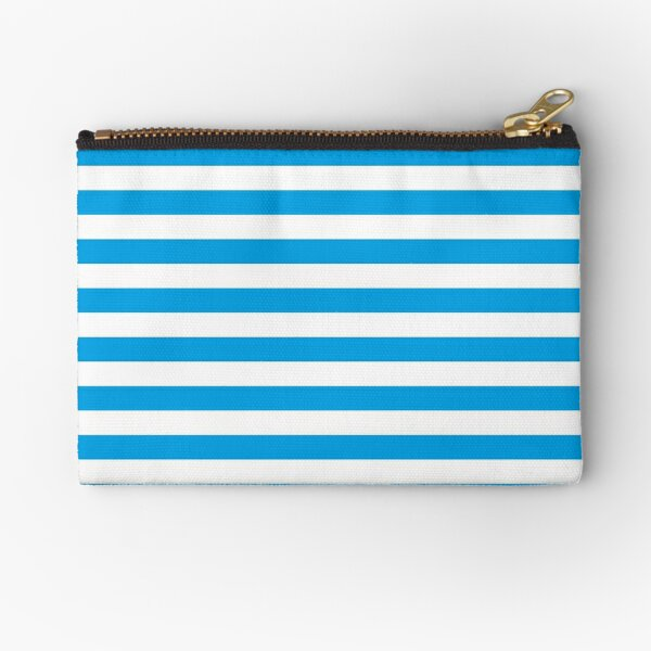 Turquoise Blue and White Stripes   Stripe Patterns   Striped Patterns   Zipper Pouch