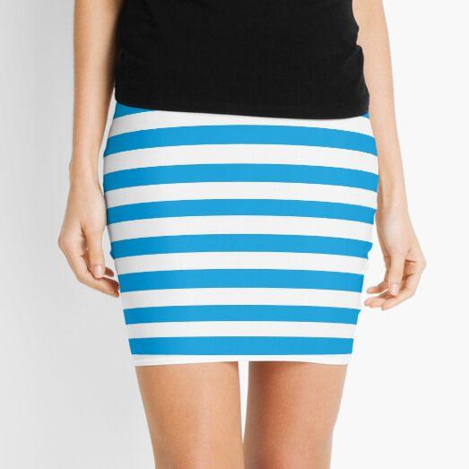 Turquoise Blue and White Stripes | Stripe Patterns | Striped Patterns | Mini Skirt