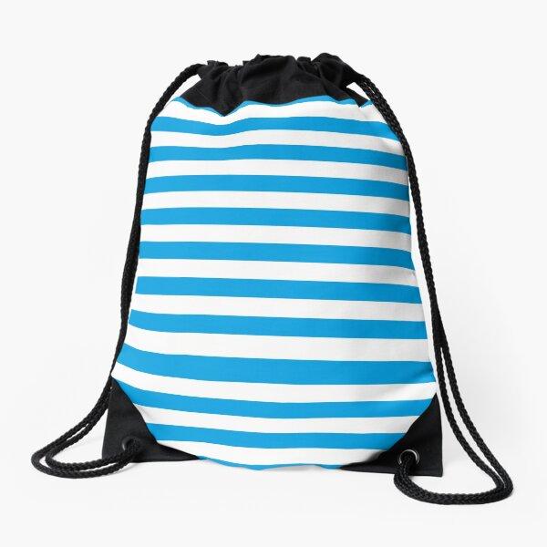 Turquoise Blue and White Stripes | Stripe Patterns | Striped Patterns | Drawstring Bag