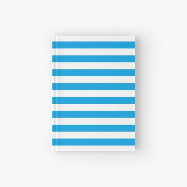 Turquoise Blue and White Stripes   Stripe Patterns   Striped Patterns   Hardcover Journal