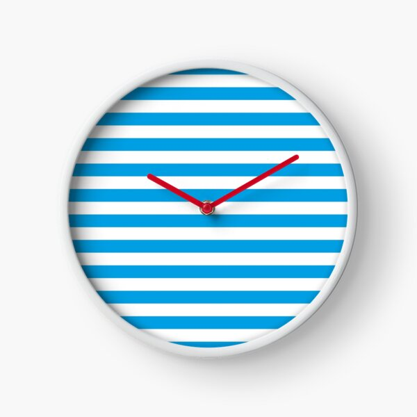Turquoise Blue and White Stripes | Stripe Patterns | Striped Patterns | Clock