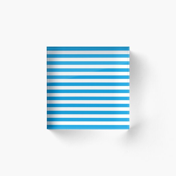 Turquoise Blue and White Stripes | Stripe Patterns | Striped Patterns | Acrylic Block
