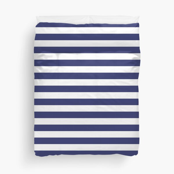 Navy Blue and White Stripes | Stripe Patterns | Striped Patterns | Wide Stripes | Horizontal Stripes | Duvet Cover