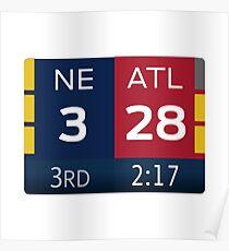 Patriots 28-3 Super Bowl Scoreboard Poster