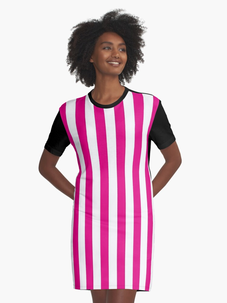 boy get new various colors 'Hot Pink and White Stripes | Stripe Patterns | Striped Patterns |' Graphic  T-Shirt Dress by EclecticAtHeART