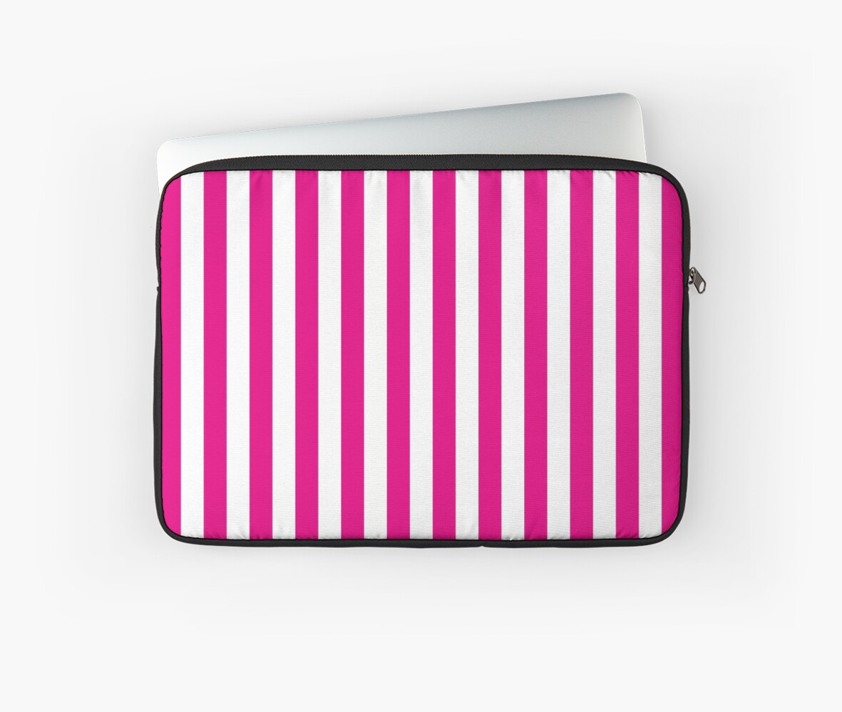 1d924fa9e32a 'Hot Pink and White Stripes | Stripe Patterns | Striped Patterns |' Laptop  Sleeve by EclecticAtHeART