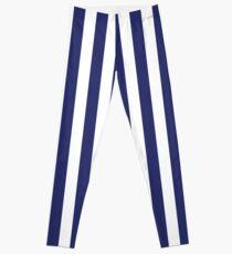 Marineblaue und weiße Streifen Leggings