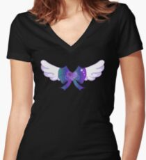 Kawaii Blue Wing Heart Bow Women's Fitted V-Neck T-Shirt