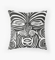 Maori Moko | Tribal Tattoo | New Zealand | Black and White Floor Pillow