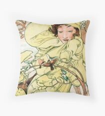 February from  Calendar (1889)  by Alphonse Mucha Throw Pillow
