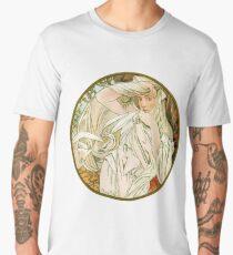 March - from Calendar (1889) by Alphonse Mucha Men's Premium T-Shirt