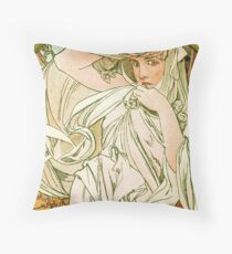 March - from Calendar (1889) by Alphonse Mucha Throw Pillow
