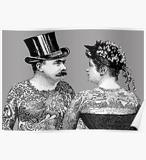 Tattooed Victorian Lovers Poster