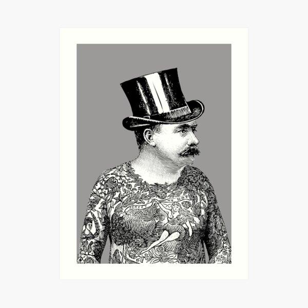 Tattooed Victorian Man | Victorian Tattoos | Vintage Tattoos | Tattoo Art |  Art Print