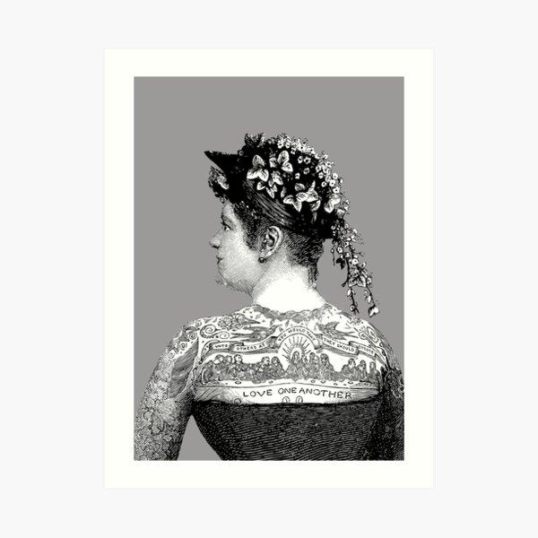 Tattooed Victorian Woman | Victorian Tattoos | Vintage Tattoos | Tattoo Art |  Art Print