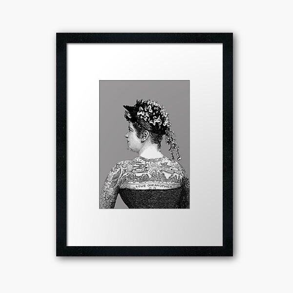Tattooed Victorian Woman | Victorian Tattoos | Vintage Tattoos | Tattoo Art |  Framed Art Print