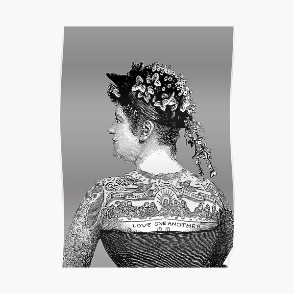 Tattooed Victorian Woman | Victorian Tattoos | Vintage Tattoos | Tattoo Art |  Poster