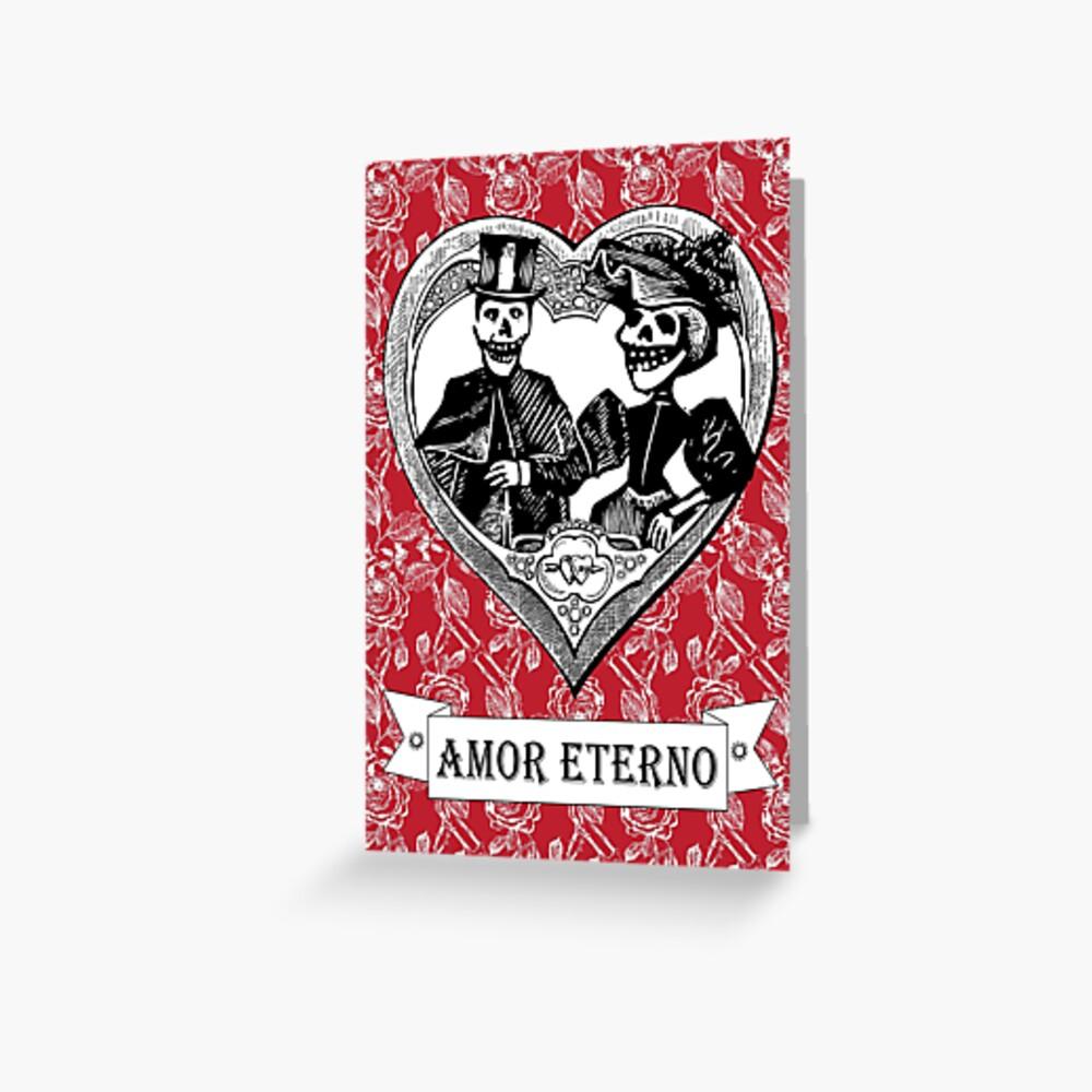 Amor Eterno   Eternal Love   Day of the Dead   Dia de los Muertos   Skulls and Skeletons   Vintage Skulls   Vintage Skeletons    Greeting Card