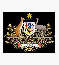 Australian Commonwealth Coat of Arms on Black Photographic Print