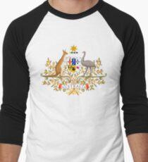 Australian Commonwealth Coat of Arms on White Men's Baseball ¾ T-Shirt