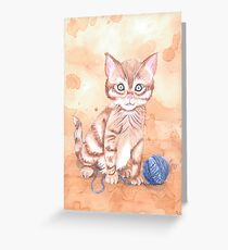 Kitten With Yarn Greeting Card