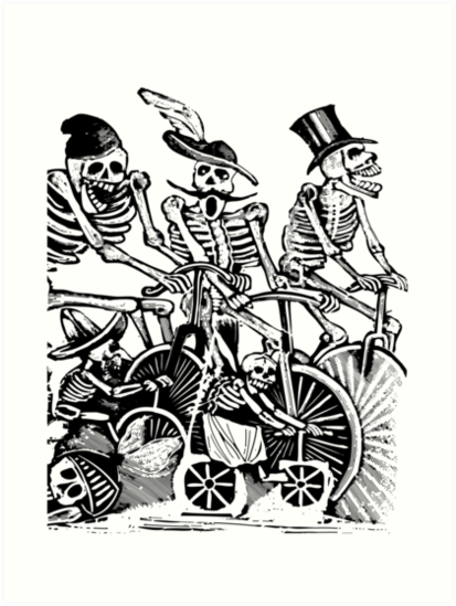 Calavera Cyclists | Black and White by EclecticAtHeART