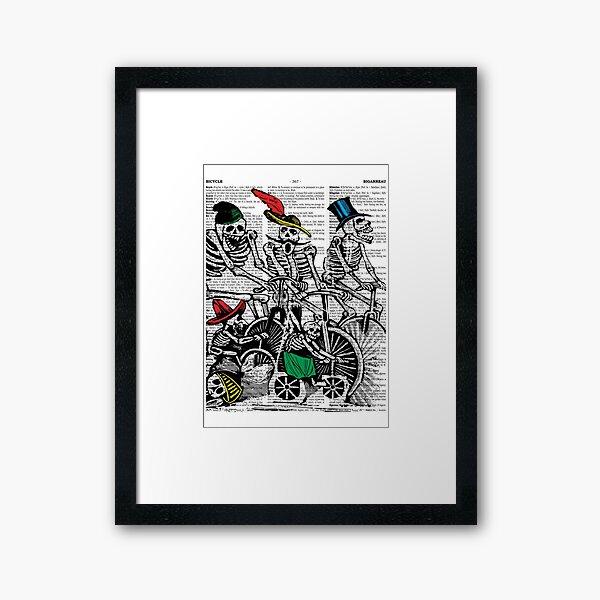 Calavera Cyclists | Day of the Dead | Dia de los Muertos | Skulls and Skeletons | Vintage Skeletons | Framed Art Print