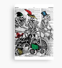 Calavera Cyclists Metal Print