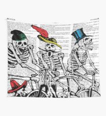 Calavera Cyclists Wall Tapestry