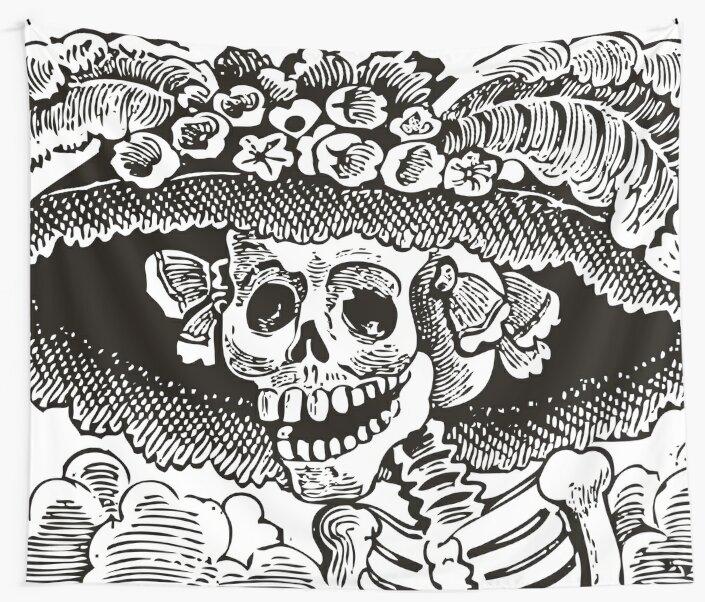 Telas Decorativas Calavera Catrina Blanco Y Negro Día De Los