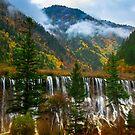 NuoRiLang Waterfall, JiuZhiGou National Park, China.  by Daniel H Chui