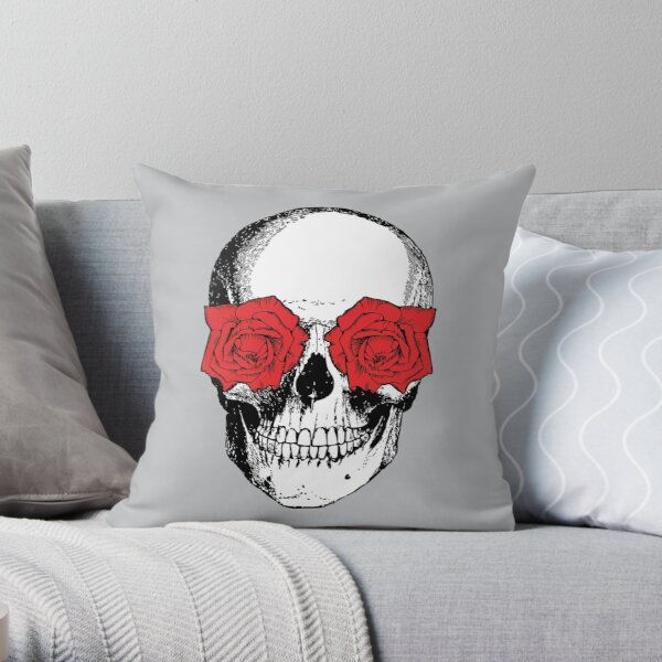 Skull and Roses | Skull and Flowers | Skulls and Skeletons | Vintage Skulls | Grey and Red |  Throw Pillow