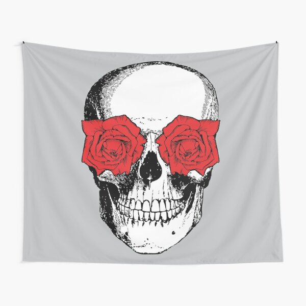 Skull and Roses | Skull and Flowers | Skulls and Skeletons | Vintage Skulls | Grey and Red |  Tapestry